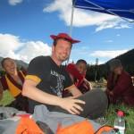 Huttausch mit dem coolen Mönch rechts von mir