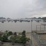 Die Aussicht vom Hotel in den Hafen. Alles Fischerboote